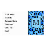 Personalized Monogram, Blue Leopard Print Pattern. Business Cards