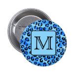 Personalized Monogram, Blue Leopard Print Pattern. Buttons