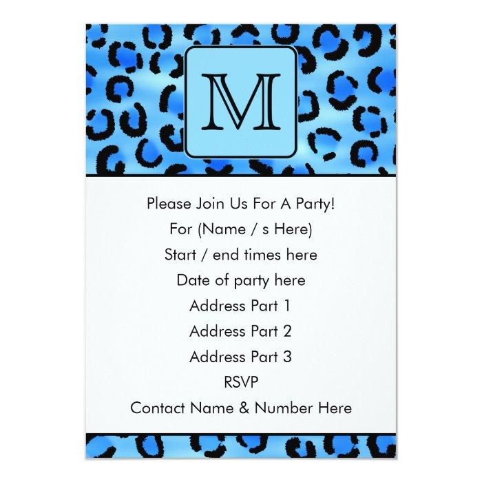 Personalized Monogram, Blue Leopard Print Pattern. Card