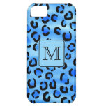 Personalized Monogram, Blue Leopard Print Pattern. Case For iPhone 5C
