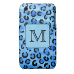 Personalized Monogram, Blue Leopard Print Pattern. iPhone 3 Cover