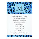 "Personalized Monogram, Blue Leopard Print Pattern. 5"" X 7"" Invitation Card"