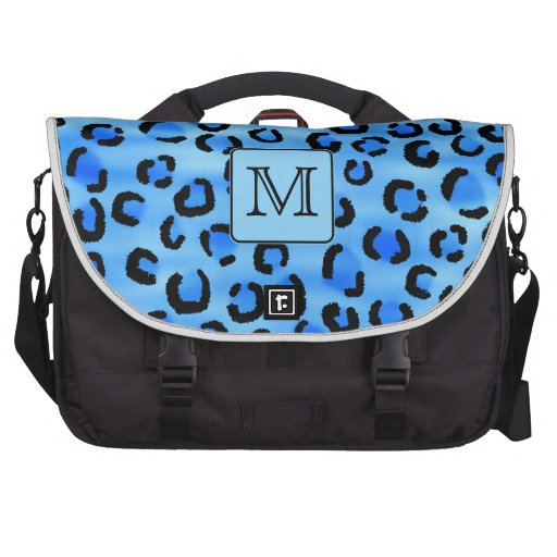 Personalized Monogram, Blue Leopard Print Pattern. Commuter Bags