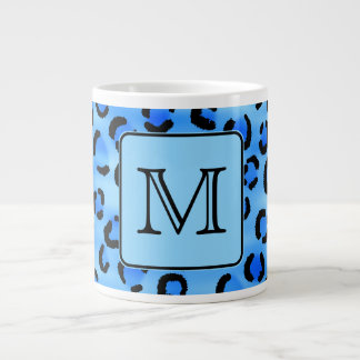 Personalized Monogram, Blue Leopard Print Pattern. Large Coffee Mug