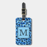 Personalized Monogram, Blue Leopard Print Pattern. Tag For Bags