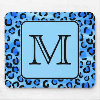 Personalized Monogram, Blue Leopard Print Pattern. Mouse Pad