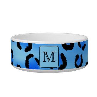 Personalized Monogram, Blue Leopard Print Pattern. Cat Water Bowl