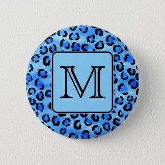 Personalized Monogram, Blue Leopard Print Pattern. Pinback Button