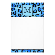 Personalized Monogram, Blue Leopard Print Pattern. Stationery