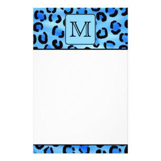 Personalized Monogram, Blue Leopard Print Pattern. Stationery