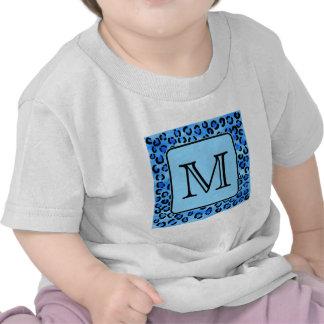 Personalized Monogram, Blue Leopard Print Pattern. Tshirt