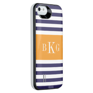 Personalized Monogram Blue Orange Stripes Pattern Uncommon Power Gallery™ iPhone 5 Battery Case