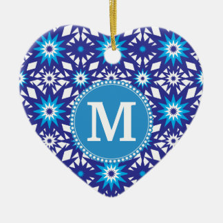 Personalized Monogram Bold Blue Teal Star Pattern Ceramic Ornament