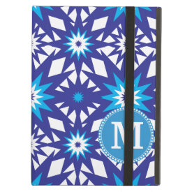 Personalized Monogram Bold Blue Teal Star Pattern iPad Folio Cases