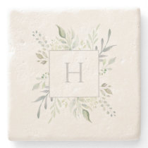 Personalized Monogram Botanical Stone Coaster