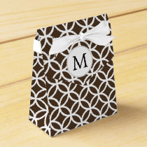 Personalized Monogram brown double rings pattern Favor Box