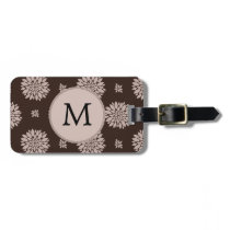 Personalized Monogram Brown Floral Pattern Bag Tag