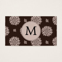Personalized Monogram Brown Floral Pattern Business Card