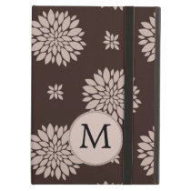 Personalized Monogram Brown Floral Pattern Case For iPad Air