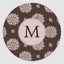 Personalized Monogram Brown Floral Pattern Classic Round Sticker