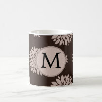 Personalized Monogram Brown Floral Pattern Coffee Mug