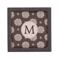 Personalized Monogram Brown Floral Pattern Gift Box