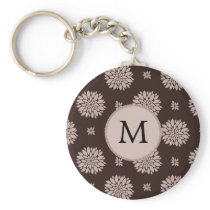 Personalized Monogram Brown Floral Pattern Keychain