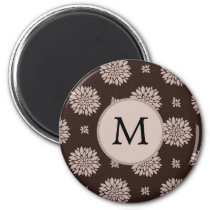 Personalized Monogram Brown Floral Pattern Magnet