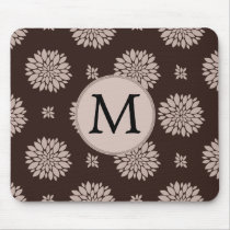 Personalized Monogram Brown Floral Pattern Mouse Pad