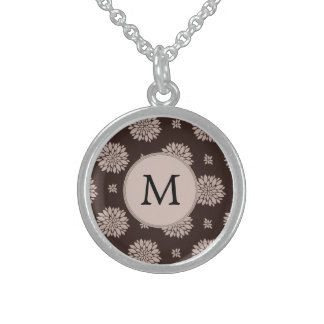Personalized Monogram Brown Floral Pattern Custom Necklace