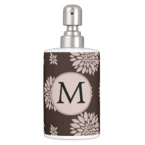 Personalized Monogram Brown Floral Pattern Soap Dispenser And Toothbrush Holder