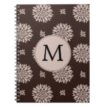 Personalized Monogram Brown Floral Pattern Spiral Notebook