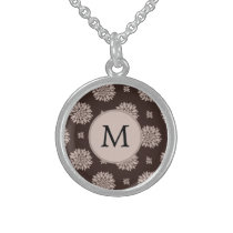 Personalized Monogram Brown Floral Pattern Sterling Silver Necklace