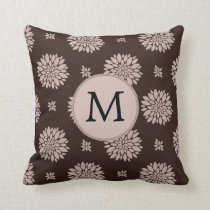 Personalized Monogram Brown Floral Pattern Throw Pillow