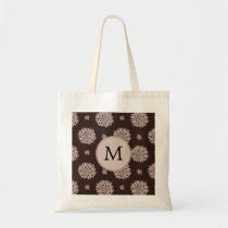 Personalized Monogram Brown Floral Pattern Tote Bag