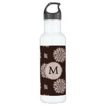 Personalized Monogram Brown Floral Pattern Water Bottle
