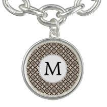 Personalized Monogram Brown rings pattern Bracelet