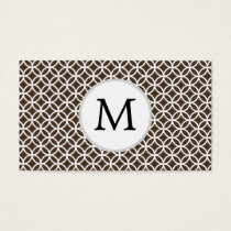 Personalized Monogram Brown rings pattern Business Card