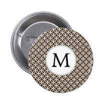 Personalized Monogram Brown rings pattern Button