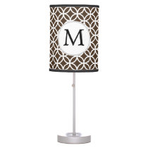Personalized Monogram Brown rings pattern Desk Lamp