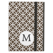 Personalized Monogram Brown rings pattern iPad Air Cover