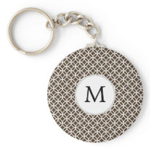 Personalized Monogram Brown rings pattern Keychain