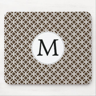 Personalized Monogram Brown rings pattern Mouse Pad