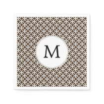 Personalized Monogram Brown rings pattern Napkin