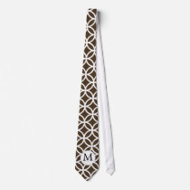 Personalized Monogram Brown rings pattern Neck Tie