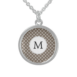 Personalized Monogram Brown rings pattern Custom Necklace