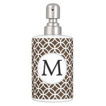 Personalized Monogram Brown rings pattern Soap Dispenser And Toothbrush Holder