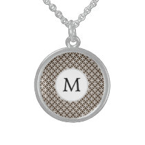 Personalized Monogram Brown rings pattern Sterling Silver Necklace