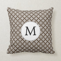 Personalized Monogram Brown rings pattern Throw Pillow