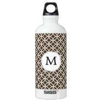 Personalized Monogram Brown rings pattern Water Bottle